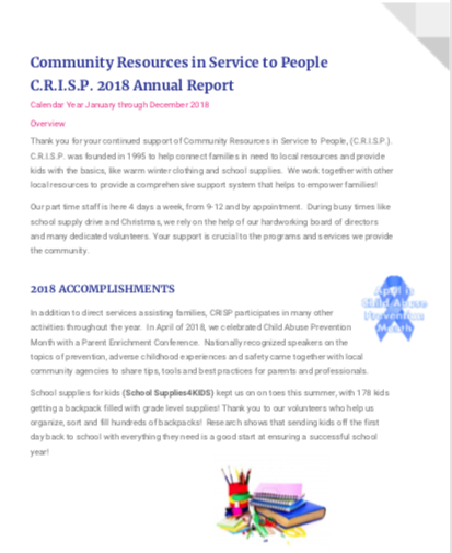 C R I S P  - Community Resources in Service to People
